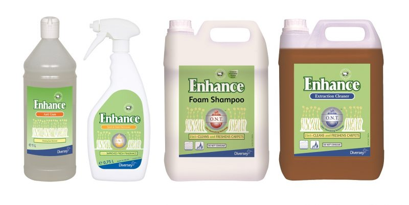 Diversey's Enhance range of carpet care products is ideal intermittent and deep cleaning.