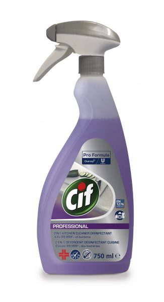 Cif Professional 2in1 Kitchen Cleaner Disinfectant 750ml spray bottle.