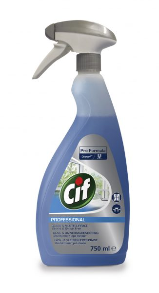 Cif Professional Window & Multi-Surface Cleaner 750ml ready to use spray bottle.